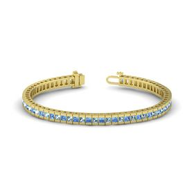 14K Yellow Gold Bracelet with Blue Topaz & Aquamarine
