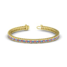 14K Yellow Gold Bracelet with Pink Tourmaline and Blue Topaz