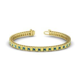 14K Yellow Gold Bracelet with Yellow Sapphire & London Blue Topaz