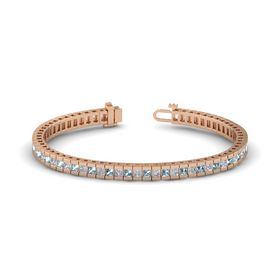 18K Rose Gold Bracelet with Aquamarine and Diamond