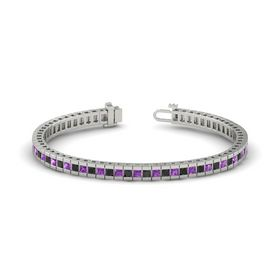 18K White Gold Bracelet with Black Diamond and Amethyst