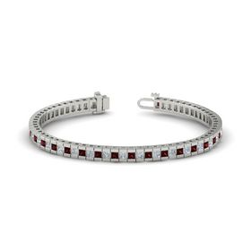 18K White Gold Bracelet with Red Garnet & Diamond
