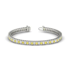 18K White Gold Bracelet with Yellow Sapphire & White Sapphire