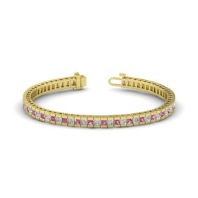 18K Yellow Gold Bracelet with Pink Tourmaline and Diamond