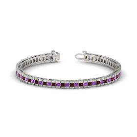 Palladium Bracelet with Red Garnet & Amethyst