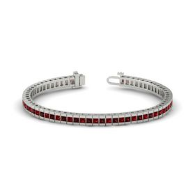 Palladium Bracelet with Red Garnet and Ruby