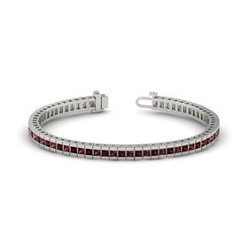 Palladium Bracelet with Rhodolite Garnet and Red Garnet