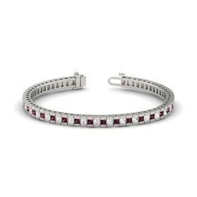 Palladium Bracelet with Rhodolite Garnet and White Sapphire