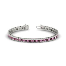 Palladium Bracelet with Rhodolite Garnet and Pink Sapphire