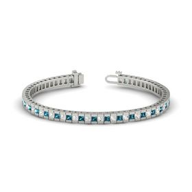 Palladium Bracelet with White Sapphire and London Blue Topaz
