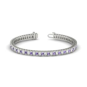 Palladium Bracelet with White Sapphire and Iolite
