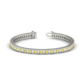 Palladium Bracelet with White Sapphire and Yellow Sapphire