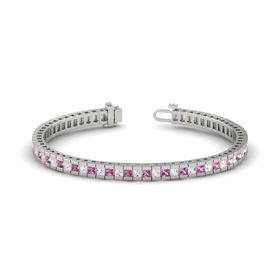 Palladium Bracelet with Pink Sapphire and White Sapphire
