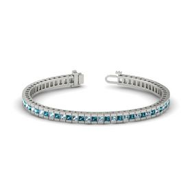 Palladium Bracelet with Aquamarine and London Blue Topaz
