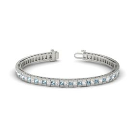 Palladium Bracelet with Aquamarine and White Sapphire