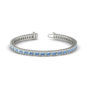 Palladium Bracelet with Aquamarine & Blue Topaz