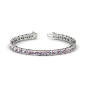 Palladium Bracelet with Aquamarine & Pink Tourmaline