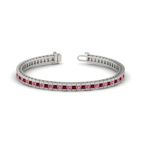 Palladium Bracelet with Ruby and Pink Tourmaline
