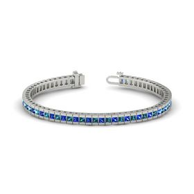 Palladium Bracelet with Blue Sapphire and London Blue Topaz