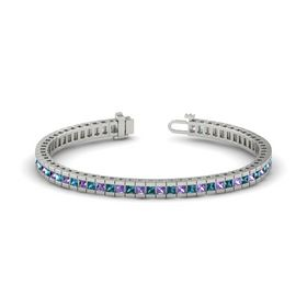 Palladium Bracelet with Iolite and London Blue Topaz