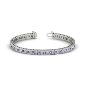 Palladium Bracelet with Iolite and Diamond