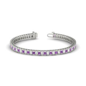 Platinum Bracelet with Amethyst & White Sapphire