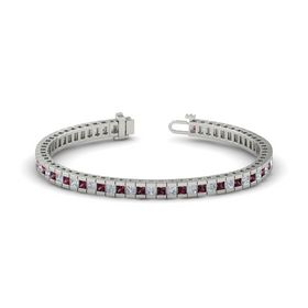 Platinum Bracelet with Rhodolite Garnet and Diamond