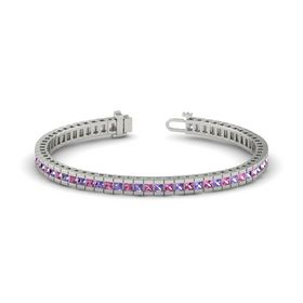 Platinum Bracelet with Iolite and Pink Sapphire