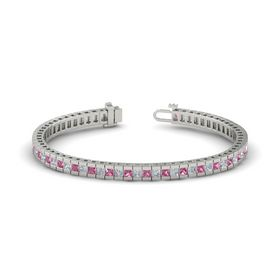 Platinum Bracelet with Pink Tourmaline & Diamond