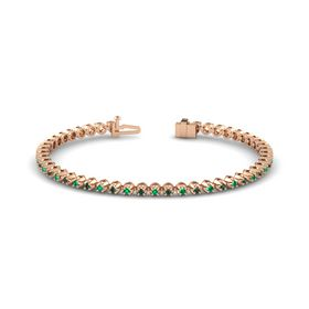 14K Rose Gold Bracelet with Emerald and Alexandrite