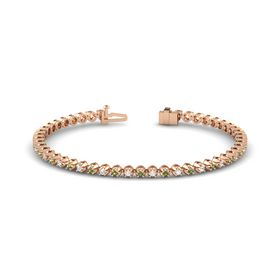 14K Rose Gold Bracelet with Green Tourmaline and White Sapphire