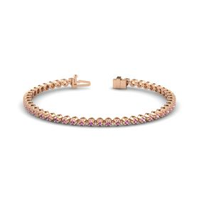 14K Rose Gold Bracelet with Pink Tourmaline and Pink Sapphire