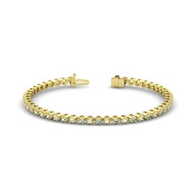 14K Yellow Gold Bracelet with Aquamarine & White Sapphire