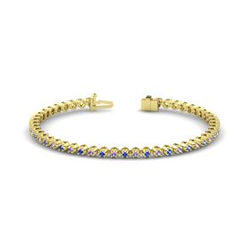 14K Yellow Gold Bracelet with Sapphire & Iolite
