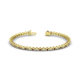 18K Yellow Gold Bracelet with Rhodolite Garnet and Diamond