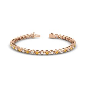 14K Rose Gold Bracelet with Citrine and White Sapphire