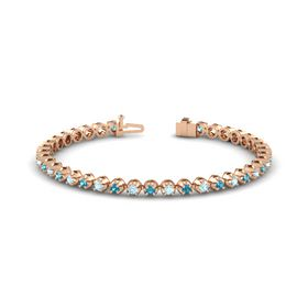 14K Rose Gold Bracelet with Aquamarine and London Blue Topaz