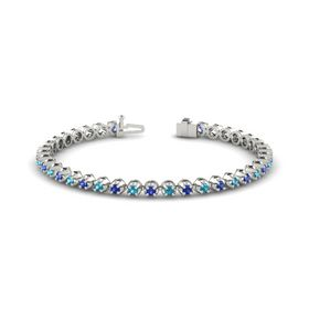 14K White Gold Bracelet with London Blue Topaz & Sapphire