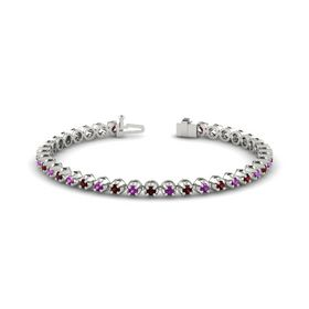 14K White Gold Bracelet with Rhodolite Garnet and Red Garnet