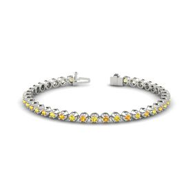 14K White Gold Bracelet with Citrine and Yellow Sapphire