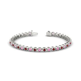14K White Gold Bracelet with Ruby and Pink Tourmaline