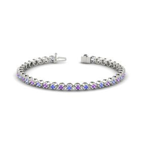 18K White Gold Bracelet with Amethyst and Tanzanite