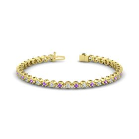 18K Yellow Gold Bracelet with Amethyst and Diamond