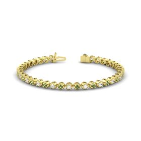 18K Yellow Gold Bracelet with Green Tourmaline and White Sapphire