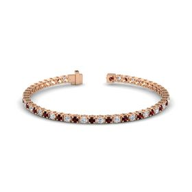 14K Rose Gold Bracelet with Red Garnet and Diamond