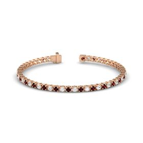 14K Rose Gold Bracelet with Red Garnet and White Sapphire