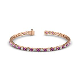 14K Rose Gold Bracelet with Rhodolite Garnet and Diamond