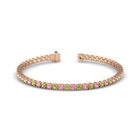 14K Rose Gold Bracelet with Peridot and Pink Tourmaline