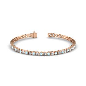 14K Rose Gold Bracelet with Aquamarine and Diamond