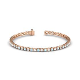 14K Rose Gold Bracelet with Aquamarine and White Sapphire